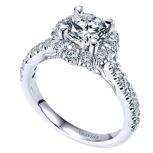 Queen 18k White Gold Round Halo Engagement Ring angle 3