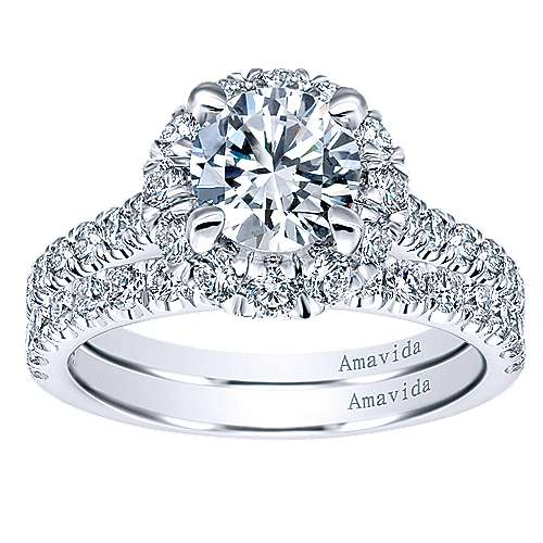 Queen 18k White Gold Round Halo Engagement Ring angle 4