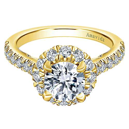 Queen 18k Yellow Gold Round Halo Engagement Ring angle 1