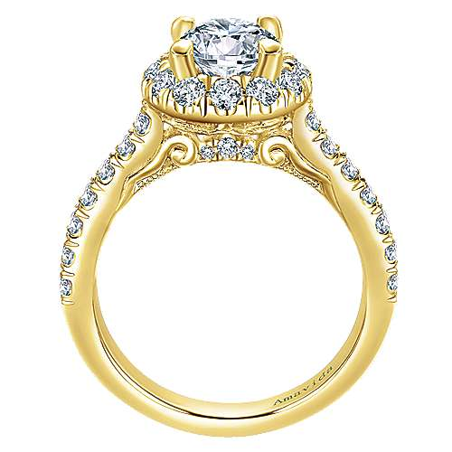 Queen 18k Yellow Gold Round Halo Engagement Ring angle 2
