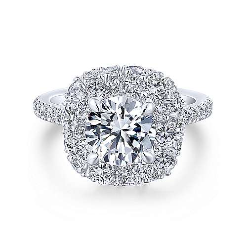Gabriel - Quincy 18k White Gold Round Halo Engagement Ring