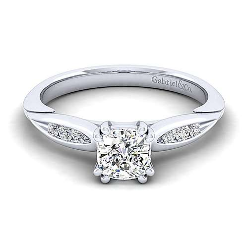 Gabriel - Quinn 14k White Gold Cushion Cut Straight Engagement Ring