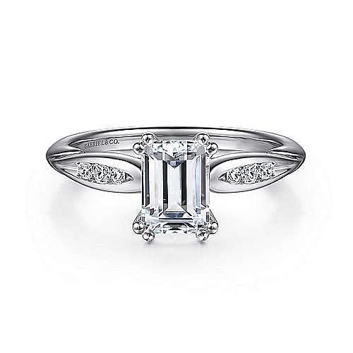 Gabriel - Quinn 14k White Gold Emerald Cut Straight Engagement Ring
