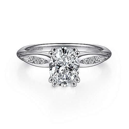 Gabriel - Quinn 14k White Gold Oval Straight Engagement Ring