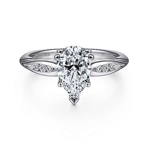 Gabriel - Quinn 14k White Gold Pear Shape Straight Engagement Ring