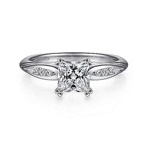 Gabriel - Quinn 14k White Gold Princess Cut Straight Engagement Ring
