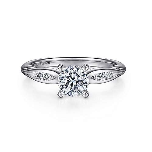 Quinn 14k White Gold Round Straight Engagement Ring angle 1