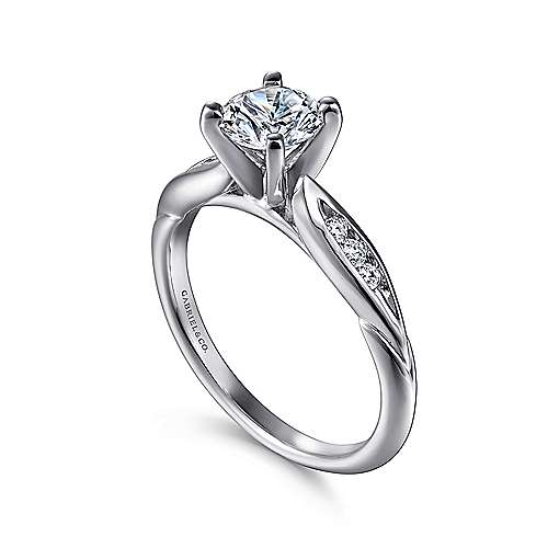 Quinn 14k White Gold Round Straight Engagement Ring angle 3