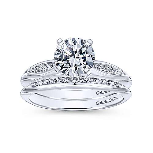 Quinn 14k White Gold Round Straight Engagement Ring