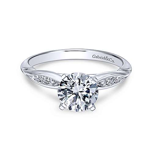 Gabriel - Quinn 18k White Gold Round Straight Engagement Ring