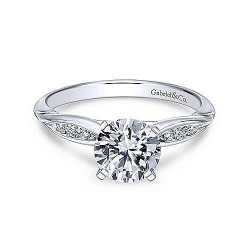 Gabriel - Quinn 18k White Gold Round Straight Engagement Ring