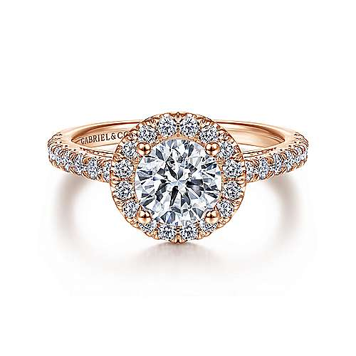 Gabriel - Rachel 14k Rose Gold Round Halo Engagement Ring
