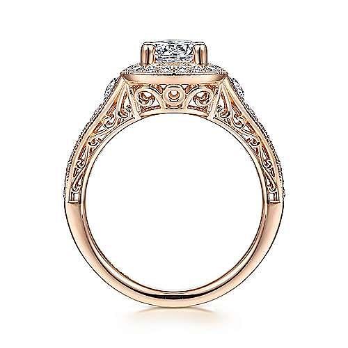 Rachel 14k Rose Gold Round Halo Engagement Ring angle 2