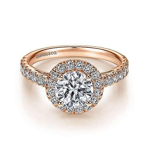 Rachel 14k Rose Gold Round Halo Engagement Ring angle 1