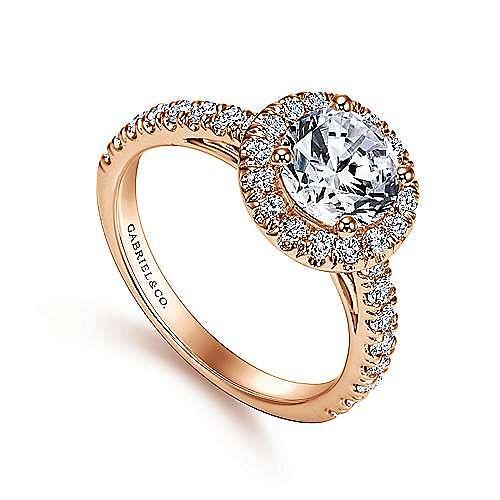 Rachel 14k Rose Gold Round Halo Engagement Ring angle 3