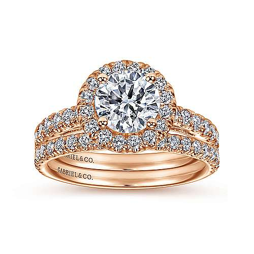 Rachel 14k Rose Gold Round Halo Engagement Ring angle 4