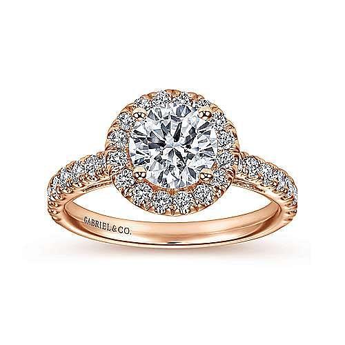 Rachel 14k Rose Gold Round Halo Engagement Ring angle 5
