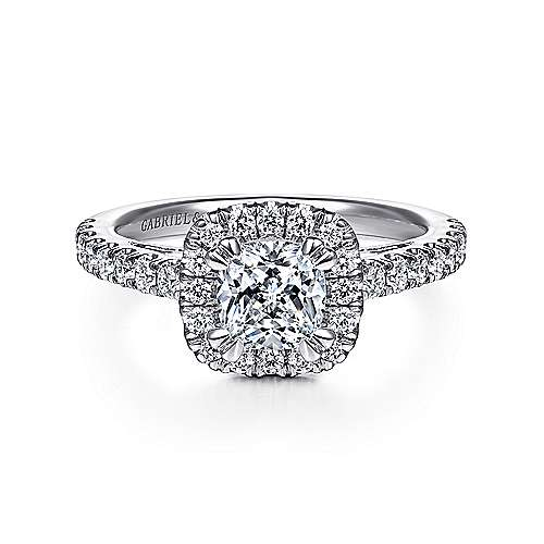 Gabriel - Rachel 14k White Gold Cushion Cut Halo Engagement Ring