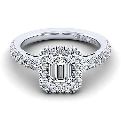 Gabriel - Rachel 14k White Gold Emerald Cut Halo Engagement Ring