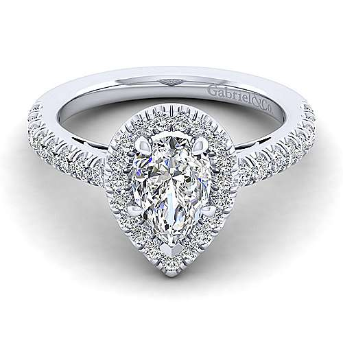 Gabriel - Rachel 14k White Gold Pear Shape Halo Engagement Ring