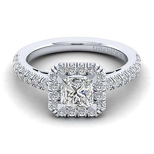 Gabriel - Rachel 14k White Gold Princess Cut Halo Engagement Ring