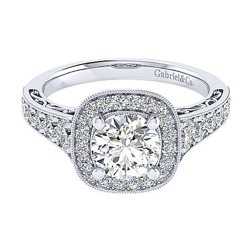 Rachel 14k White Gold Round Halo Engagement Ring angle 1