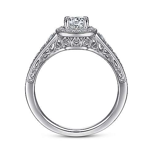 Rachel 14k White Gold Round Halo Engagement Ring