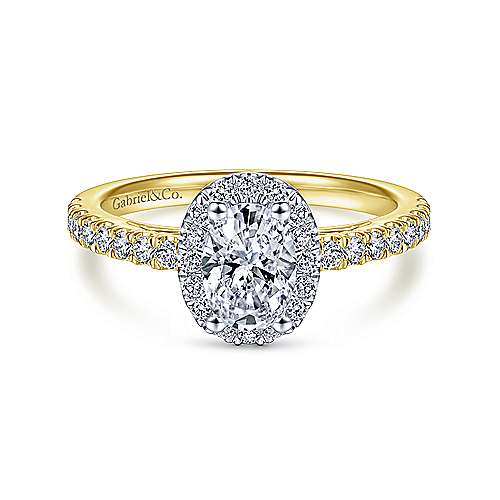 Gabriel - Rachel 14k Yellow And White Gold Oval Halo Engagement Ring