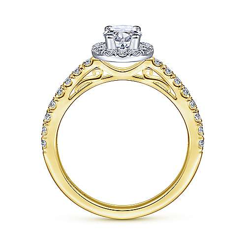 Rachel 14k Yellow And White Gold Oval Halo Engagement Ring angle 2