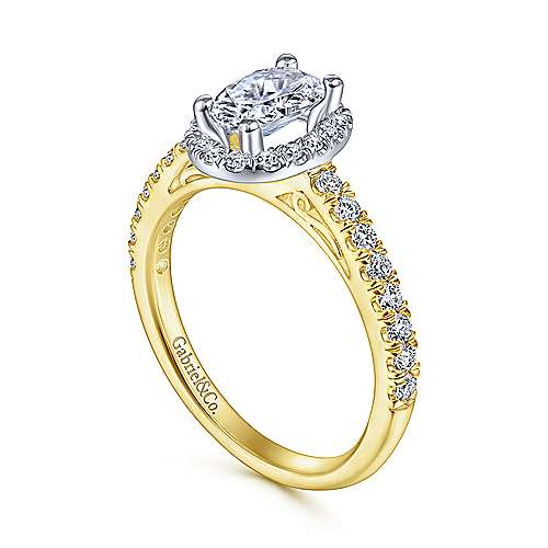 Rachel 14k Yellow And White Gold Oval Halo Engagement Ring angle 3