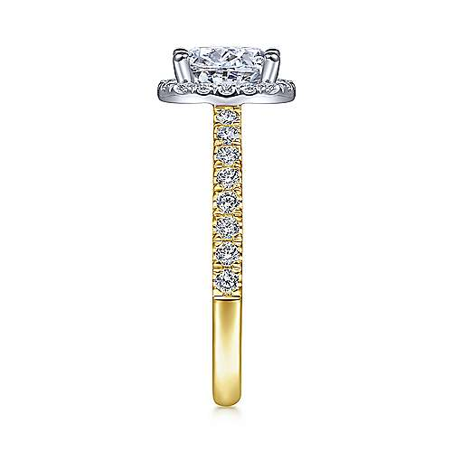 Rachel 14k Yellow And White Gold Oval Halo Engagement Ring angle 5