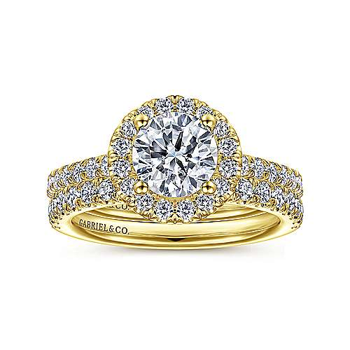 Rachel 14k Yellow Gold Round Halo Engagement Ring angle 4