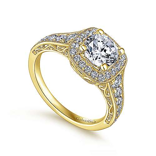 Rachel 14k Yellow Gold Round Halo Engagement Ring angle 3