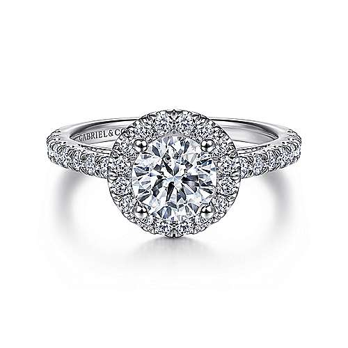 Gabriel - Rachel 18k White Gold Round Halo Engagement Ring
