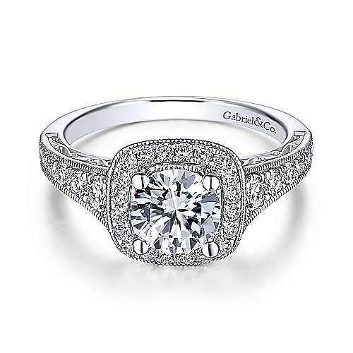 Gabriel - Rachel 18k White Gold Round Halo Engagement Ring