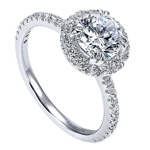 Rae 18k White Gold Round Halo Engagement Ring angle 3
