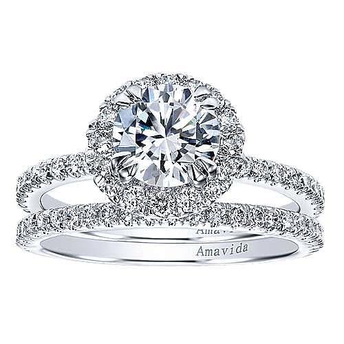 Rae 18k White Gold Round Halo Engagement Ring angle 4
