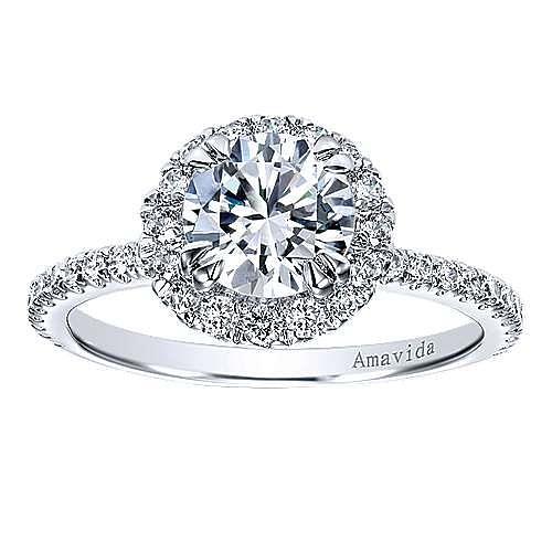 Rae 18k White Gold Round Halo Engagement Ring angle 5