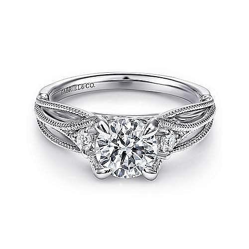 Gabriel - Ranunculo 18k White Gold Round Straight Engagement Ring