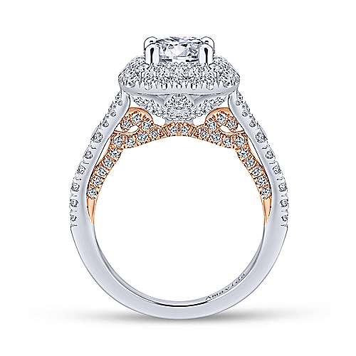 Raquel 18k White And Rose Gold Round Double Halo Engagement Ring angle 2