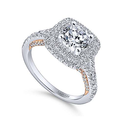Raquel 18k White And Rose Gold Round Double Halo Engagement Ring angle 3