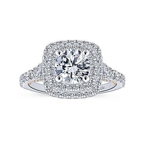 Raquel 18k White And Rose Gold Round Double Halo Engagement Ring angle 5