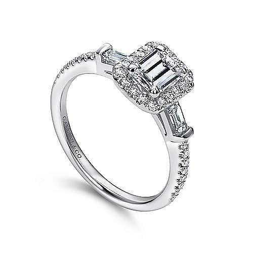Raveena 14k White Gold Emerald Cut Halo Engagement Ring angle 3