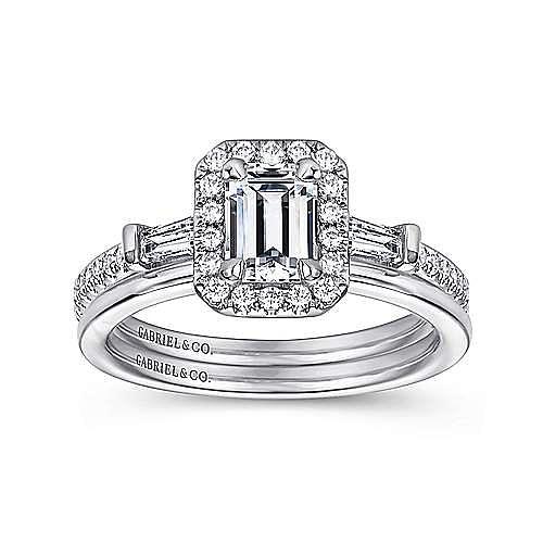 Raveena 14k White Gold Emerald Cut Halo Engagement Ring angle 4