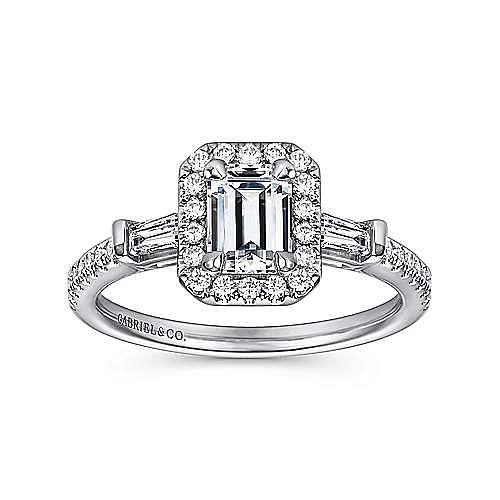Raveena 14k White Gold Emerald Cut Halo Engagement Ring angle 5