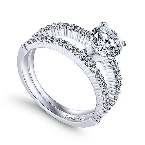 Ravenna 14k White Gold Round Split Shank Engagement Ring angle 3