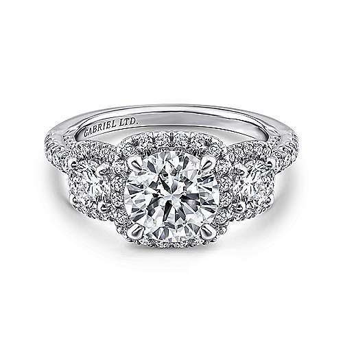 Gabriel - Raya 18k White Gold Round 3 Stones Halo Engagement Ring