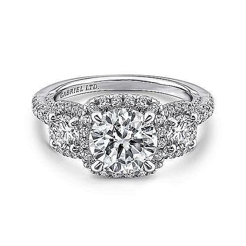 Raya 18k White Gold Round 3 Stones Halo Engagement Ring angle 1