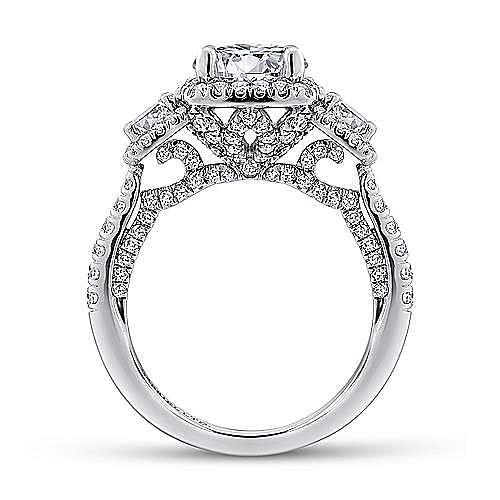 Raya 18k White Gold Round 3 Stones Halo Engagement Ring angle 2