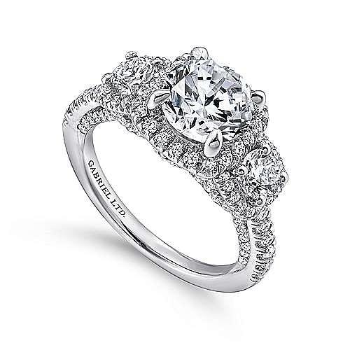 Raya 18k White Gold Round 3 Stones Halo Engagement Ring angle 3